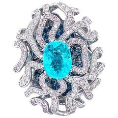 Vitale 1913 18 Karat White Gold Natural Tourmaline Paraiba Diamond Cocktail Ring