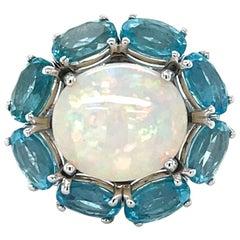 Vitale 1913 18 Karat White Gold Opal Apatite Diamond Cocktail Ring