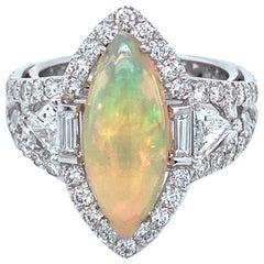 18 Karat White Gold Marquise Opal Diamond Cocktail Ring