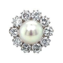 18 Karat White Gold Pearl Diamond Cocktail Ring