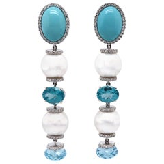 Vitale 1913 18 Karat White Gold Pearl Diamond Drop Earrings