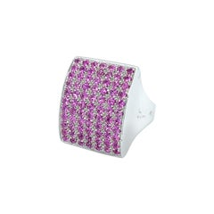 Vitale 1913 18 Karat White Gold Pink Sapphire Signet Ring