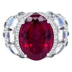 Vitale 1913 18 Karat White Gold Rubellite Moonstone Diamond Cocktail Ring