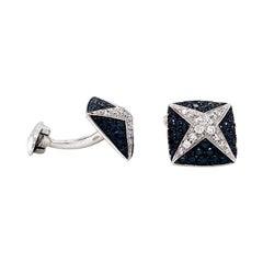 Vitale 1913 18 Karat White Gold White Black Diamond Cufflinks
