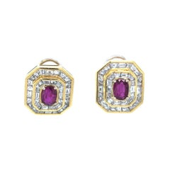 18 Karat White Yellow Gold Diamond Ruby Stud Earrings