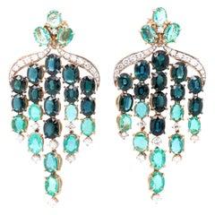 Vitale 1913 18 Karat Yellow Gold Diamond Sapphire Emerald Chandelier Earrings