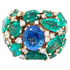 18 Karat Yellow Gold Emerald Ceylon Sapphire Diamond Cocktail Ring