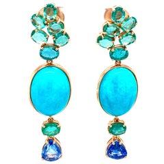 18 Karat Yellow Gold Oval Emerald Sapphire Chandelier Earrings