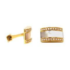 Vitale 1913 18 Karat Yellow Gold Mother of Pearl Diamond Cufflinks