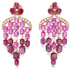 Vitale 1913 18 Karat Yellow Gold Ruby Diamond Sapphire Chandelier Earrings