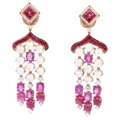 Vitale 1913 18 Karat Yellow Gold Sapphire Ruby Diamond Chandelier Earrings