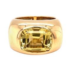 Vitale 1913 18 Karat Yellow Gold Yellow Beryl Signet Ring