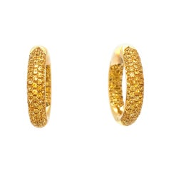 Vitale 1913 18 Karat Yellow Gold Yellow Sapphire Hoop Earrings