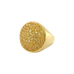18 Karat Yellow Gold Yellow Sapphire Signet Ring