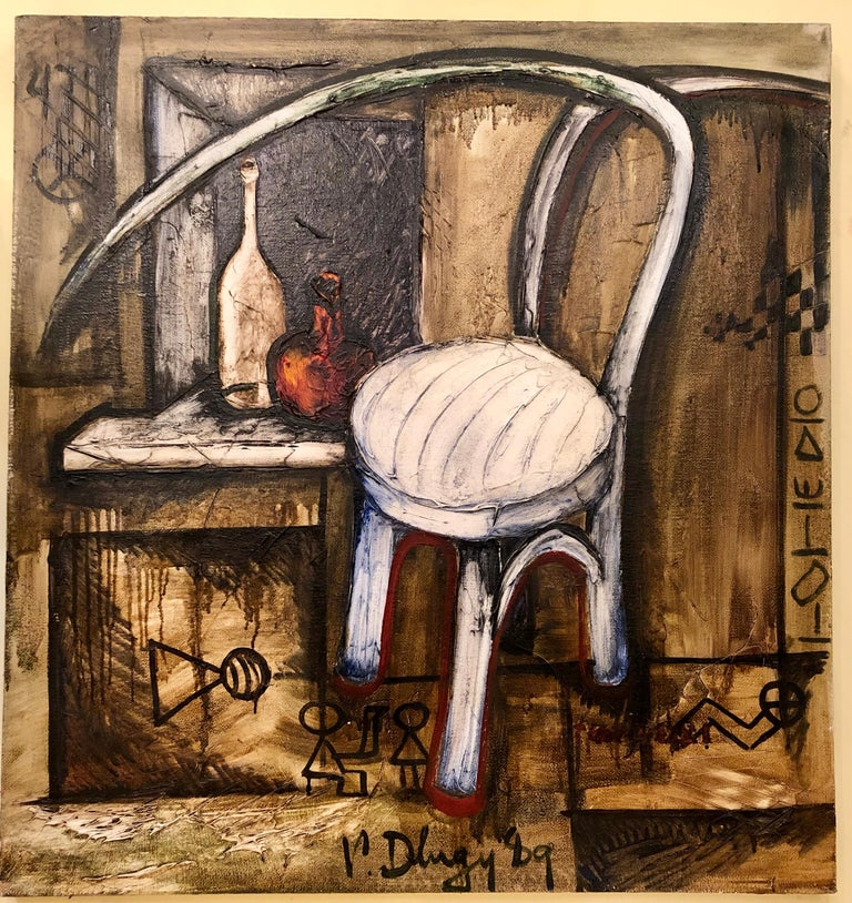 Vitaly Dlugy (Russian 1934-1990) white chair, 1989 oil on canvas.