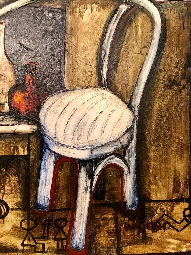 Modern Vitaly Dlugy White Chair, 1989 Oil on Canvas For Sale