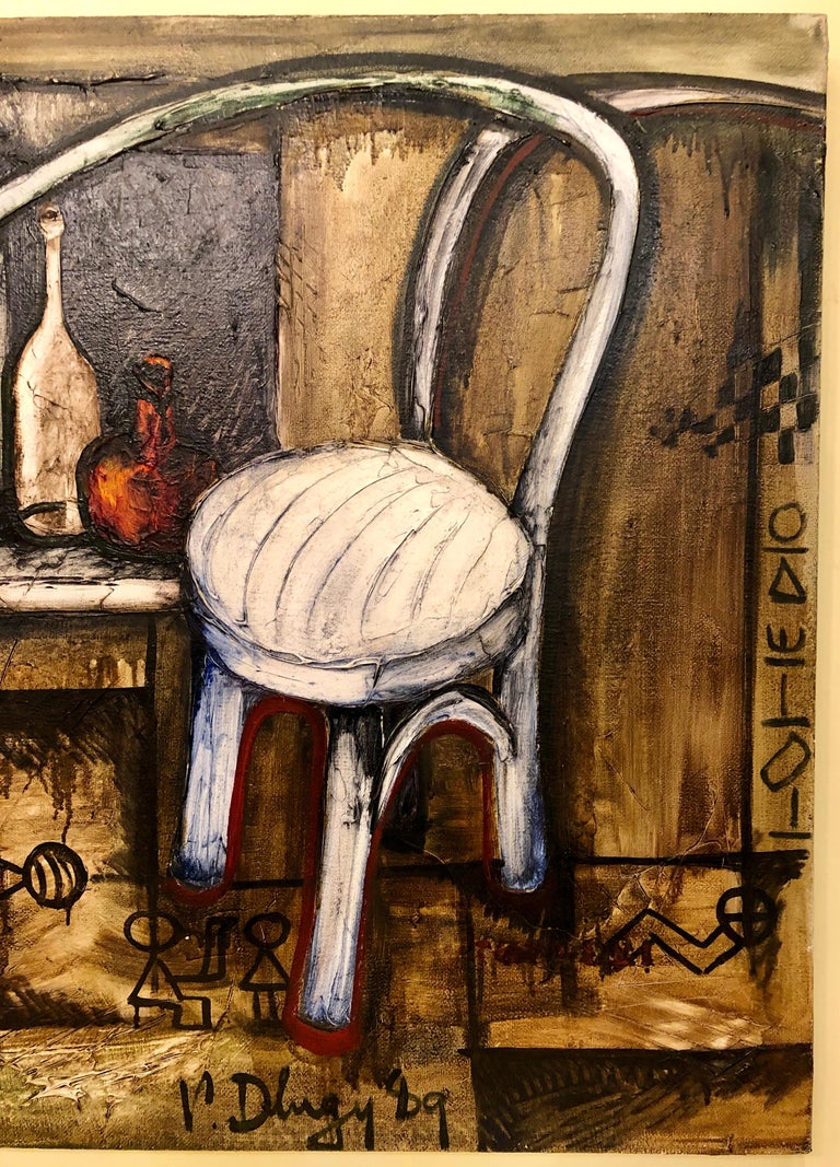 Russian Vitaly Dlugy White Chair, 1989 Oil on Canvas For Sale