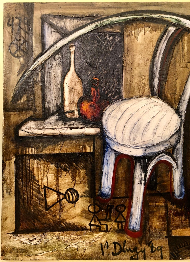 Vitaly Dlugy White Chair, 1989 Oil on Canvas In Good Condition For Sale In Stamford, CT