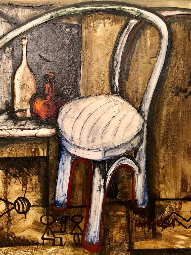 20th Century Vitaly Dlugy White Chair, 1989 Oil on Canvas For Sale