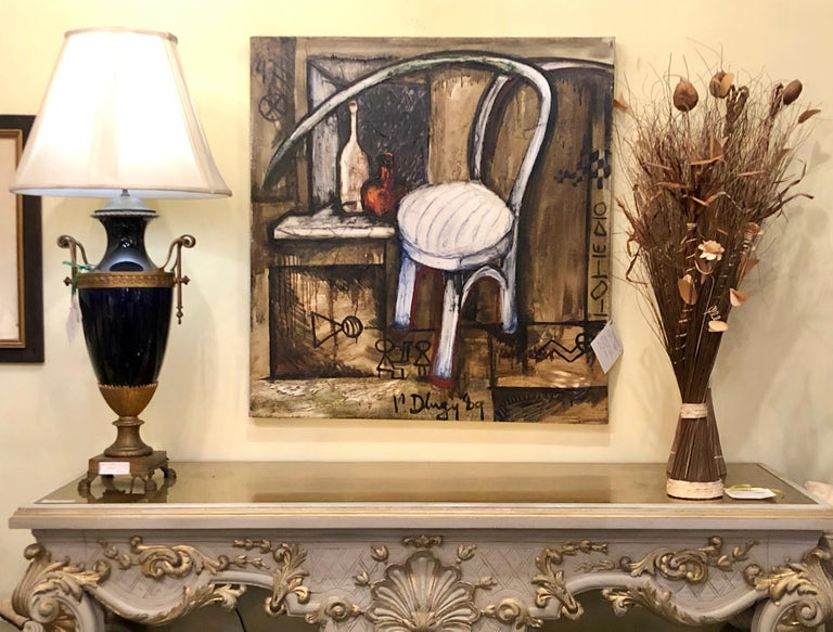Vitaly Dlugy White Chair, 1989 Oil on Canvas For Sale 2