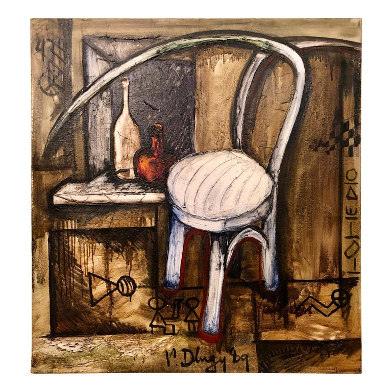 Vitaly Dlugy White Chair, 1989 Oil on Canvas For Sale