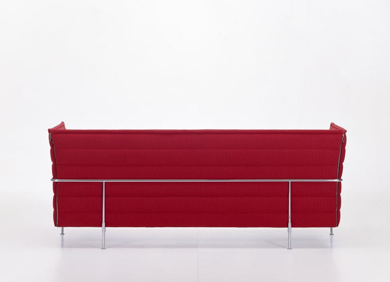 Modern Vitra Alcove 3-Seater Sofa in Dark Red Laser by Ronan & Erwan Bouroullec For Sale