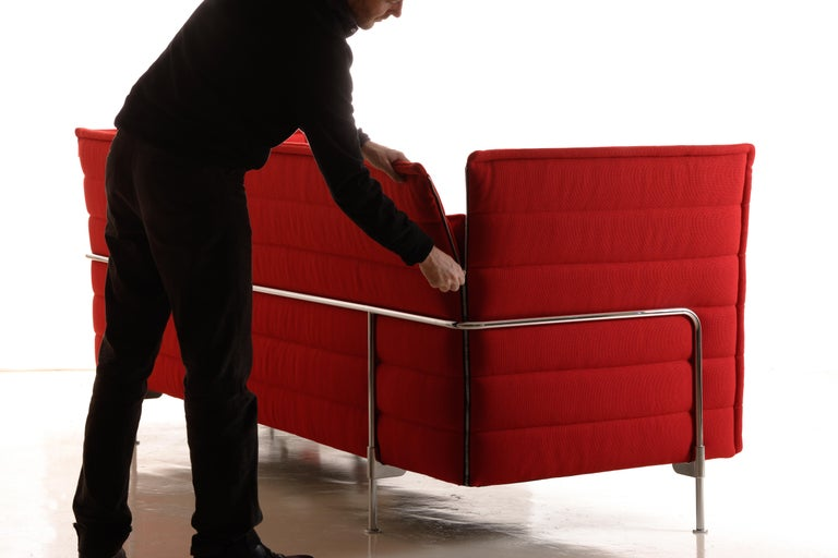 Swiss Vitra Alcove 3-Seater Sofa in Dark Red Laser by Ronan & Erwan Bouroullec For Sale