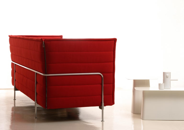Contemporary Vitra Alcove 3-Seater Sofa in Dark Red Laser by Ronan & Erwan Bouroullec For Sale