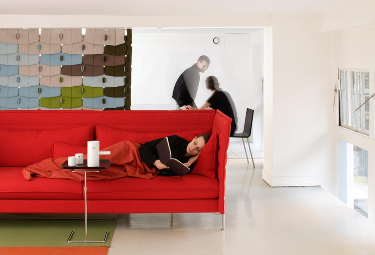 Steel Vitra Alcove 3-Seater Sofa in Dark Red Laser by Ronan & Erwan Bouroullec For Sale
