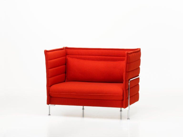 Modern Vitra Alcove Loveseat in Poppy Red Laser by Ronan & Erwan Bouroullec For Sale
