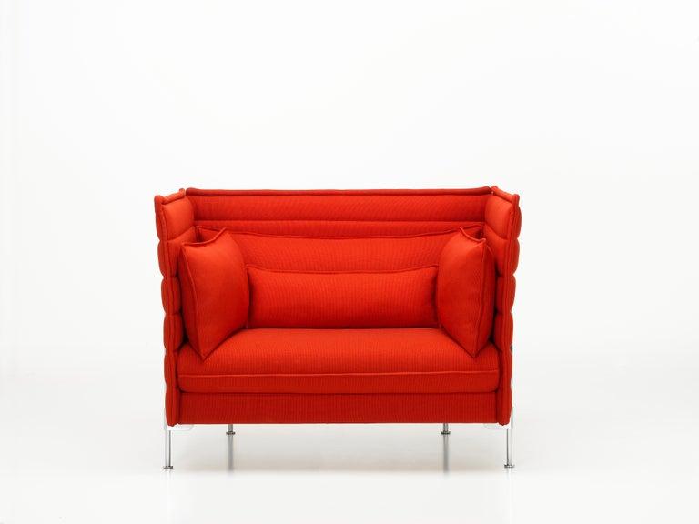 Swiss Vitra Alcove Loveseat in Poppy Red Laser by Ronan & Erwan Bouroullec For Sale
