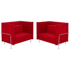 Vitra Alcove Red Loveseat Sofa by Ronan & Erwan Bouroullec, Set of 2
