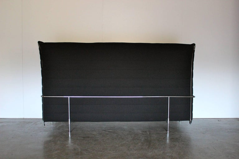 """On offer on this occasion is a rare, superb """"Alcove"""" highback three-seat sofa from the world renown Swiss furniture house, Vitra. Supplied with a full set of complimenting black-leather back cushions. As you will no doubt be aware by your interest"""