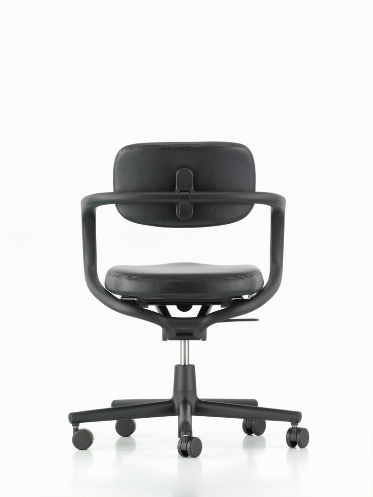 Swiss Vitra Allstar Chair in Nero Leather by Konstantin Grcic For Sale