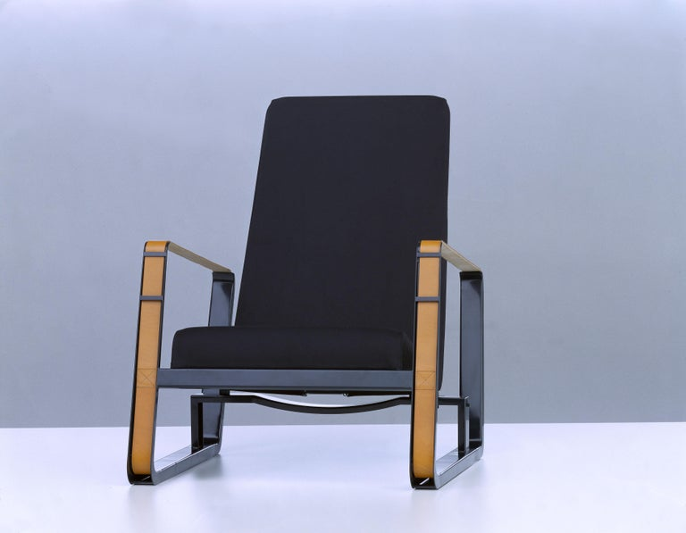 Powder-Coated Vitra Cité Armchair in Black Upholstery by Jean Prouvé For Sale