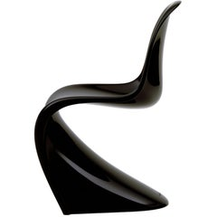 Vitra Classic Panton Chair in Lacquered Black by Verner Panton