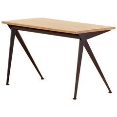Vitra Compas Direction Desk in Natural Oak and Chocolate by Jean Prouvé