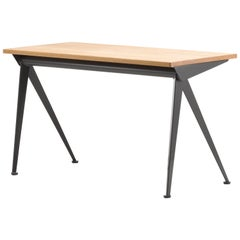 Vitra Compas Direction Desk in Natural Oak and Coffee by Jean Prouvé