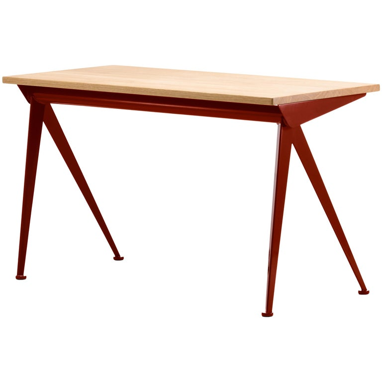 Vitra Compas Direction Desk in Natural Oak & Japanese Red by Jean Prouvé For Sale