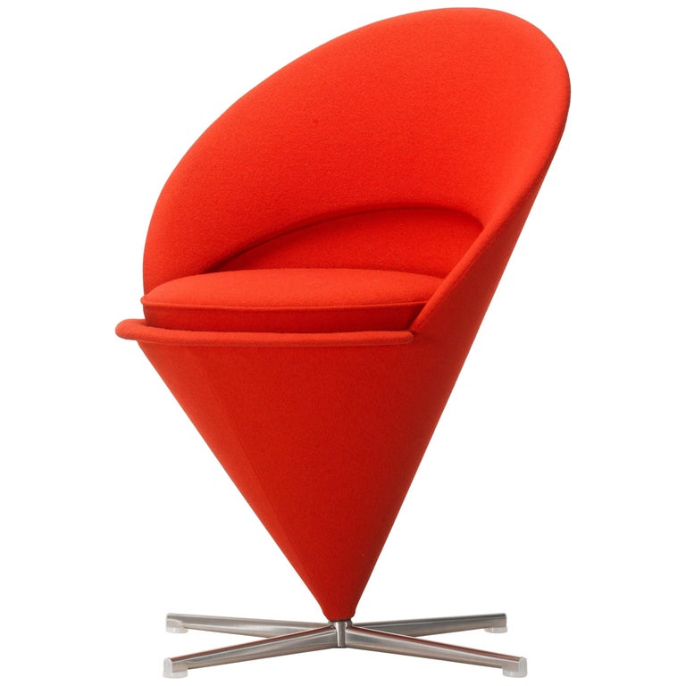 Vitra Cone Chair in Dark Orange by Verner Panton For Sale
