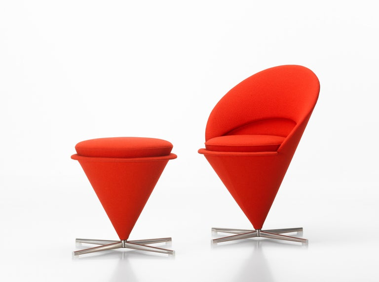 These items are currently only available in the United States.  Originally designed for a Danish restaurant, the Cone chair takes its shape from the Classic geometric figure for which it is named. The cone-shaped seat is mounted at its point on a
