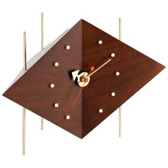 Vitra Diamond Desk Clock in Wood and Brass by George Nelson