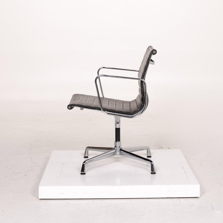 Vitra Ea 107 Leather Aluminum Chair Brown Dark Brown For Sale At 1stdibs