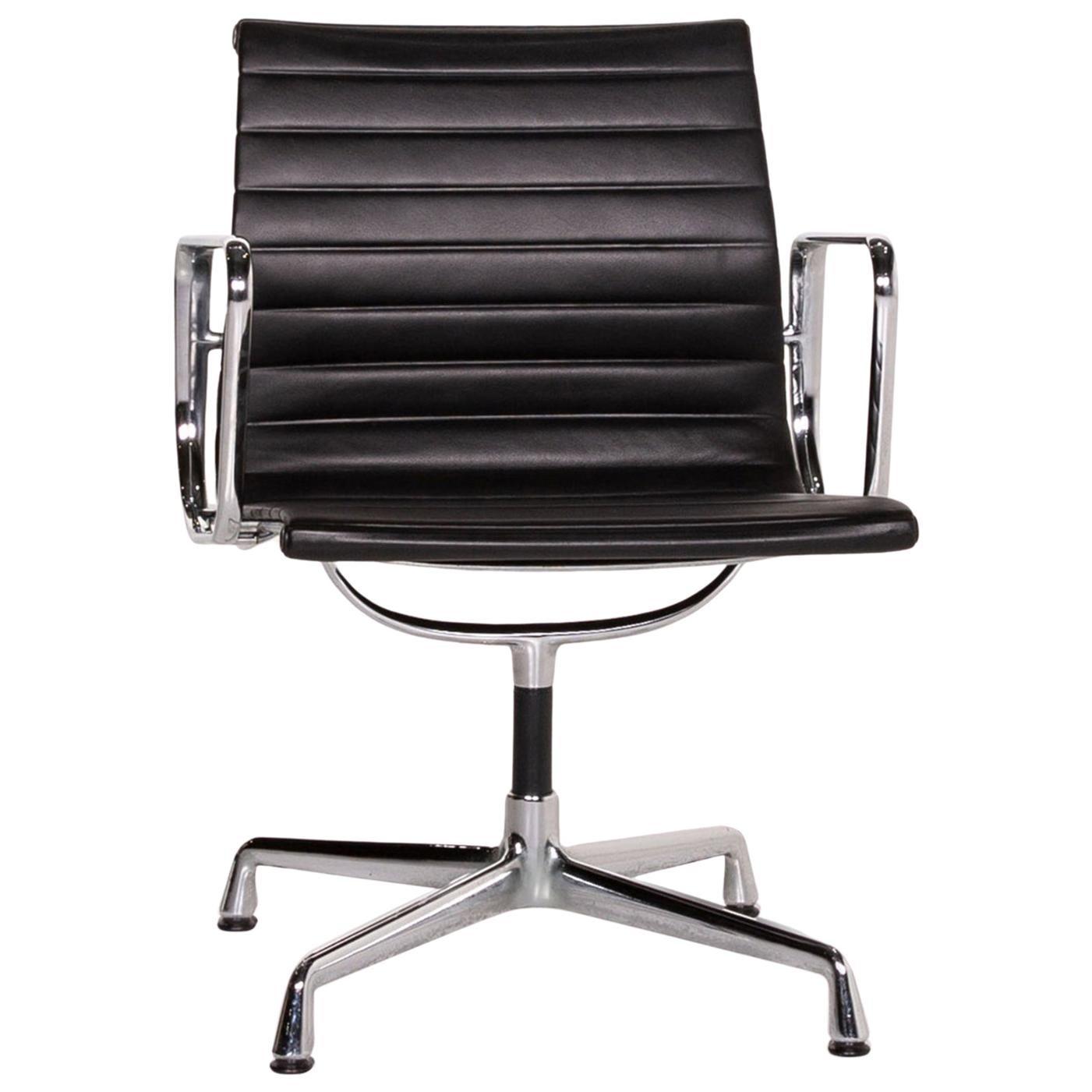 Vitra EA 107 Leather Aluminum Chair Brown Dark Brown