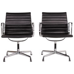 Vitra EA 107 Leather Aluminum Chair Set Dark Brown 2 Armchairs