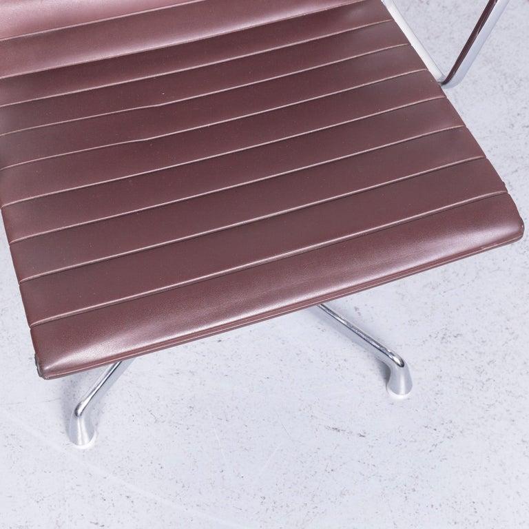 Swiss Vitra EA 108 Designer Leather Chair Brown Chrome