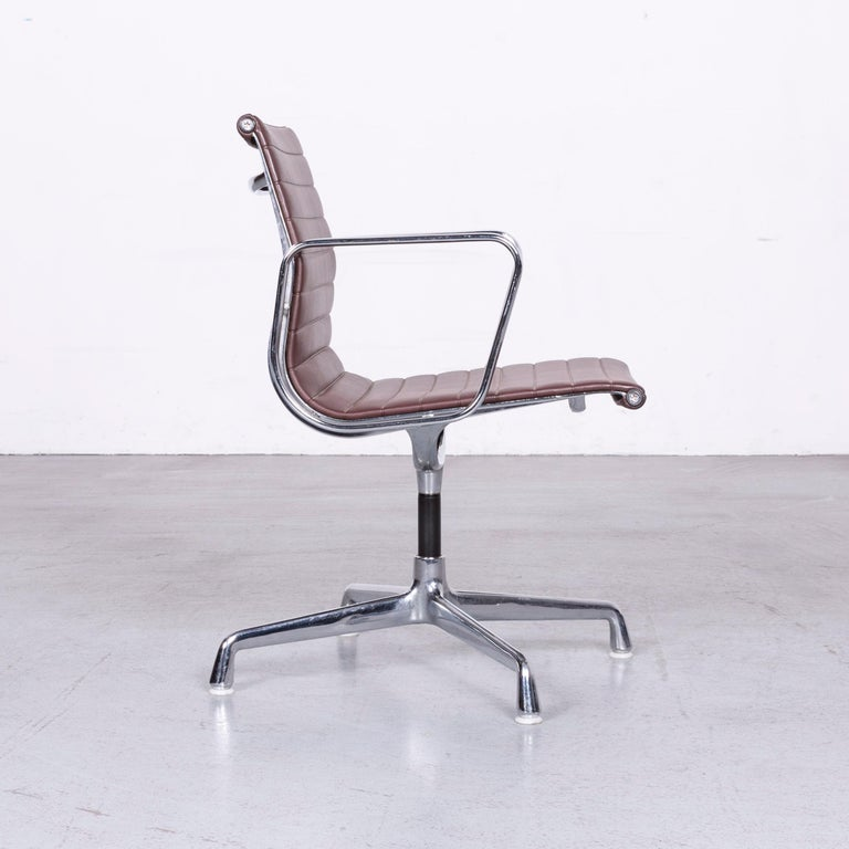 Contemporary Vitra EA 108 Designer Leather Chair Brown Chrome