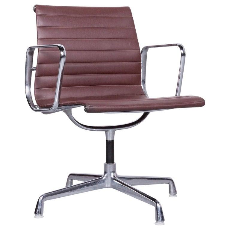 Vitra EA 108 Designer Leather Chair Brown Chrome