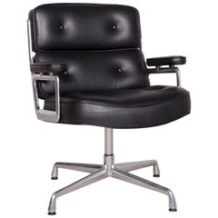 Vitra EA 108 Lobby Chair Designer Leather Armchair Black Genuine Leather