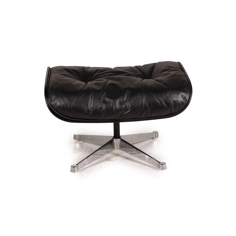 Vitra Eameas lounge leather armchair black including ottoman For Sale 9